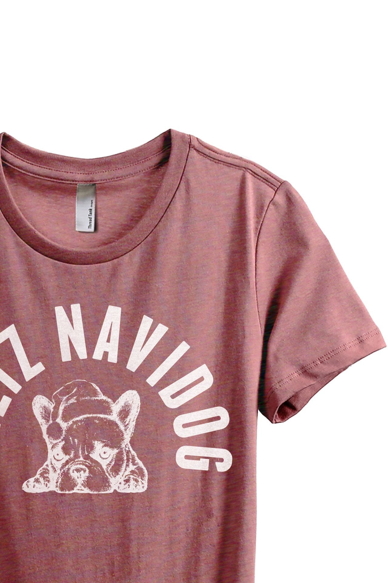 Feliz Navidog Women's Relaxed Crewneck T-Shirt Top Tee Heather Rouge