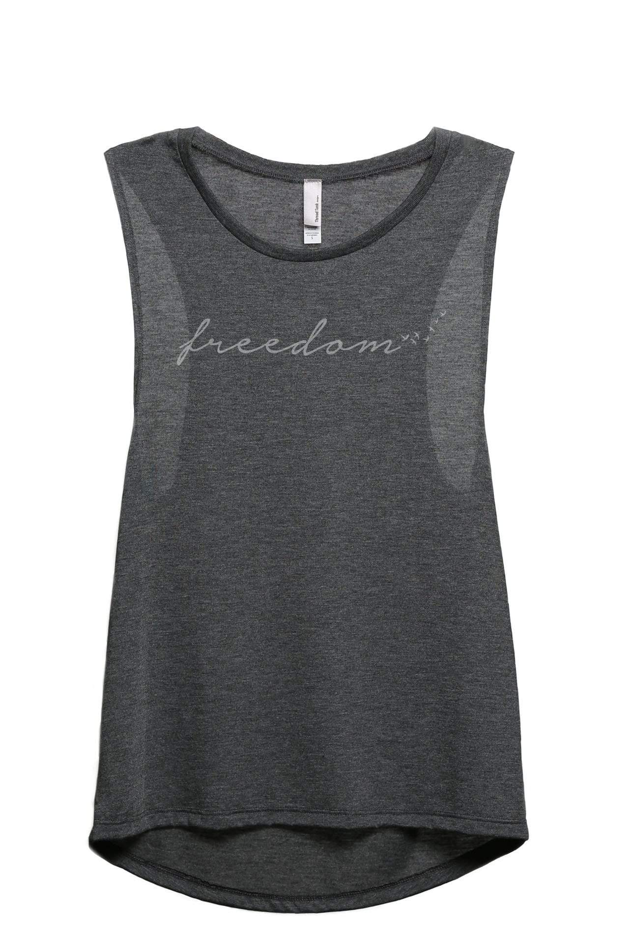 Freedome Script And Sunshine Women's Relaxed Muscle Tank Tee Charcoal