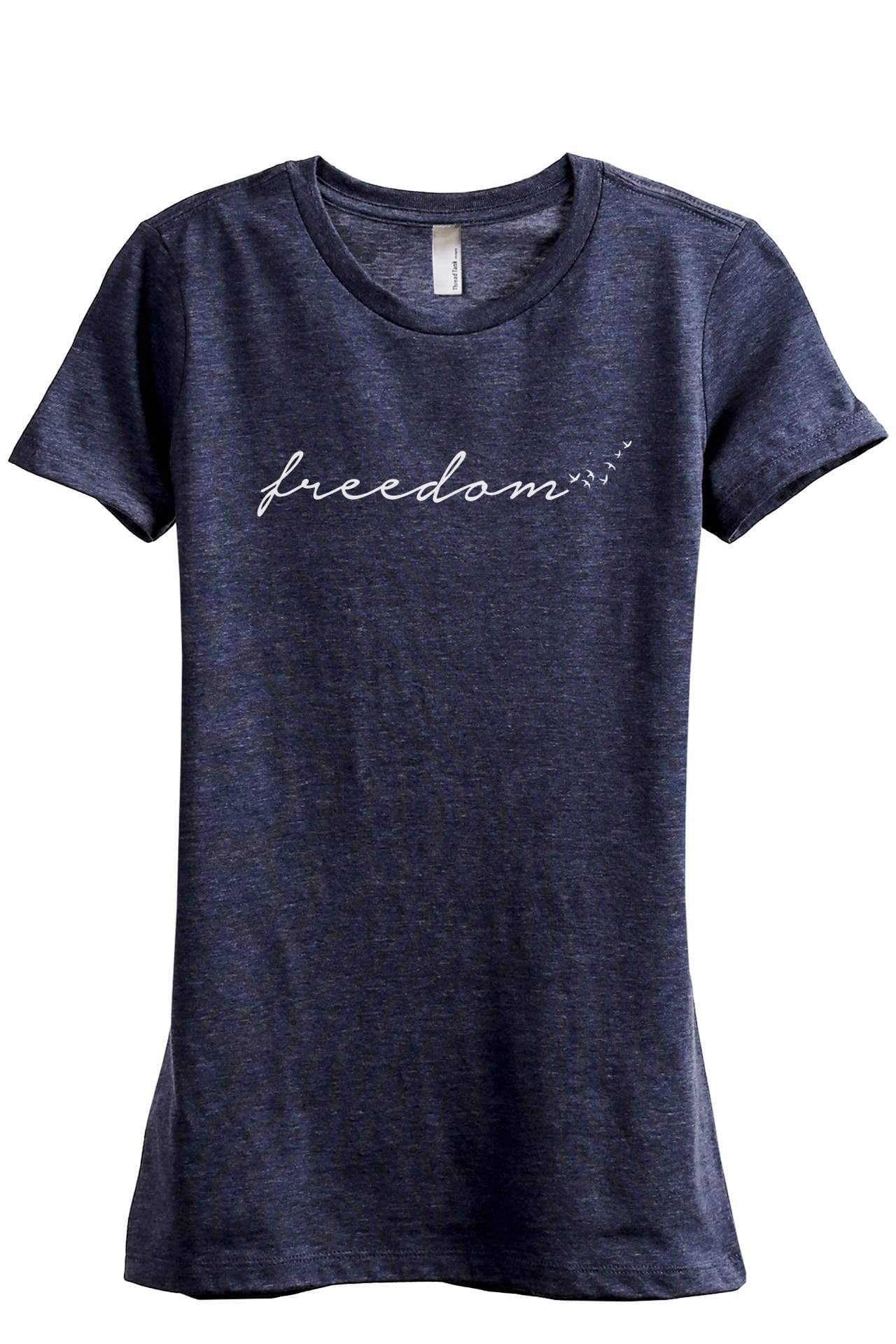 Freedom Script Women's Relaxed Crewneck T-Shirt Top Tee Heather Navy