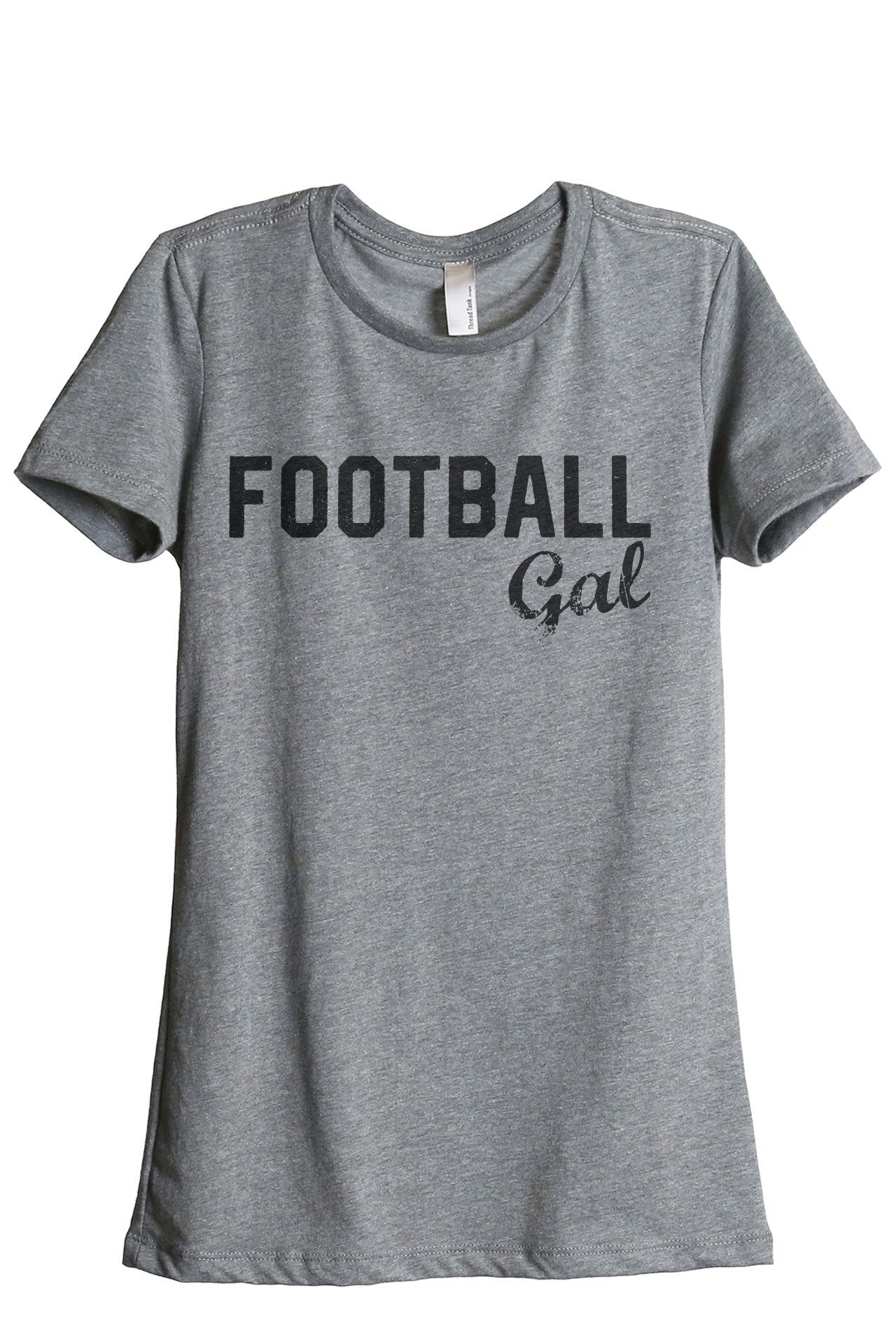 Football Gal Women's Relaxed Crewneck T-Shirt Top Tee Heather Grey