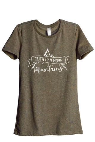 Faith Can Move Mountains Women's Relaxed Crewneck T-Shirt Top Tee Heather Sage