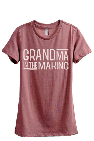 Grandma In The Making Heather Rouge Printed Graphic Tee