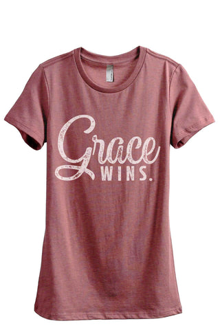 Grace Wins Women Heather Rouge Relaxed Crew T-Shirt Tee Top