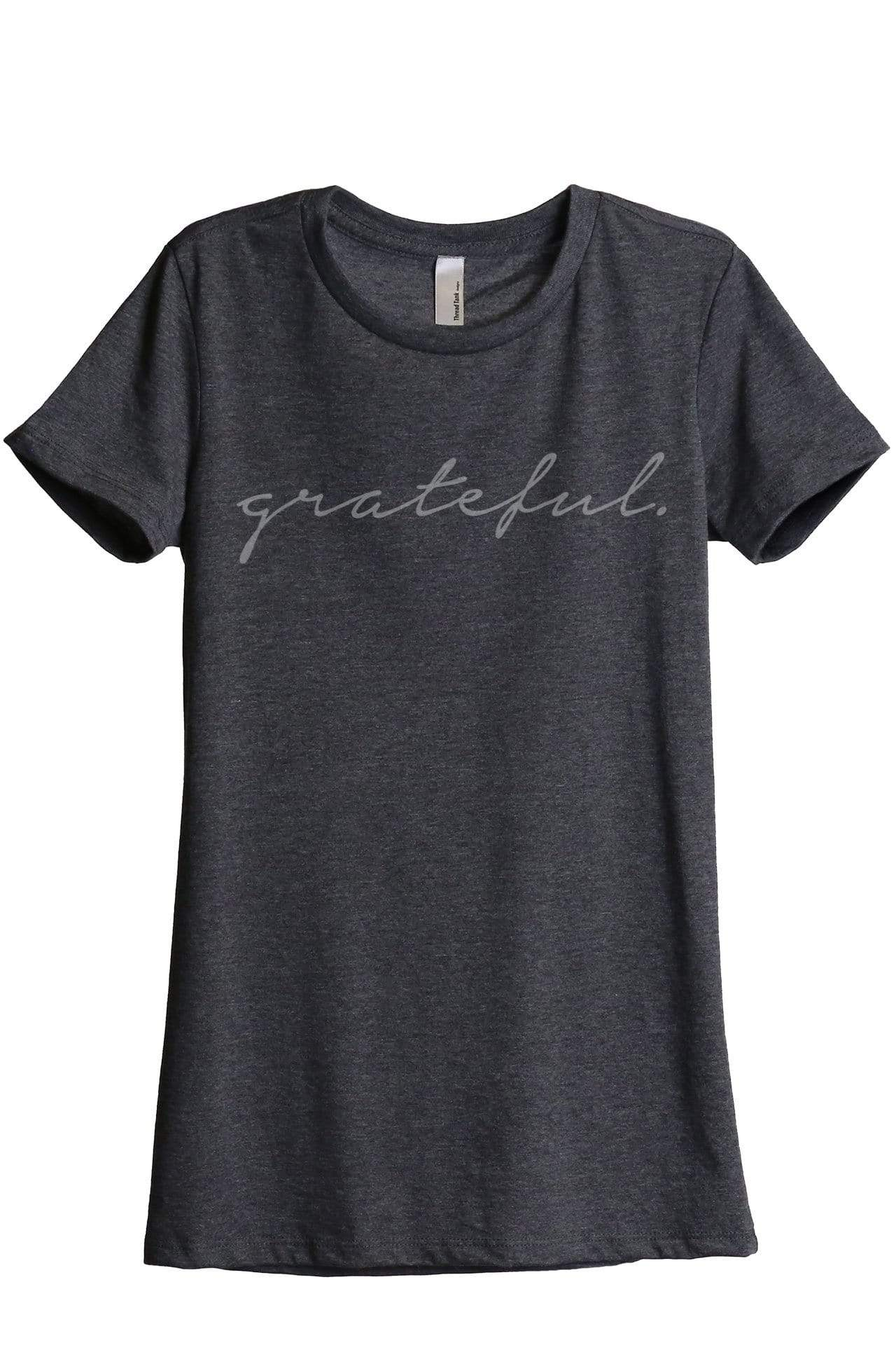 Grateful Women Charcoal Grey Relaxed Crew T-Shirt Tee Top