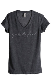 Grateful Women's Relaxed V-Neck T-Shirt Tee Charcoal