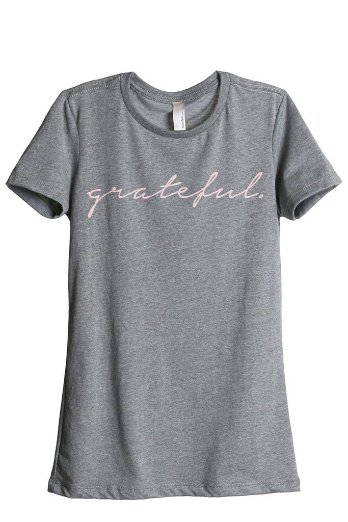 Grateful Women's Relaxed Crewneck T-Shirt Top Tee Heather Grey Pink Exclusive