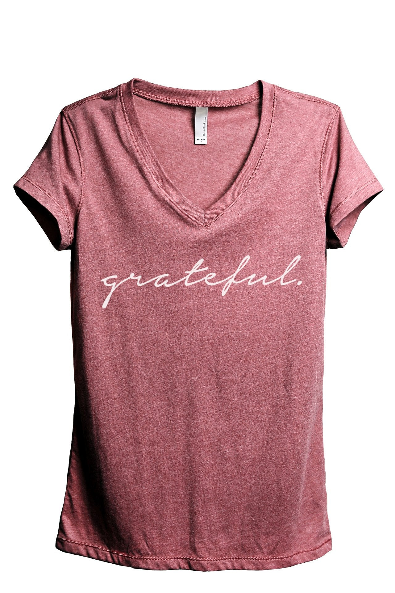 Grateful Women's Relaxed V-Neck T-Shirt Tee Heather Black