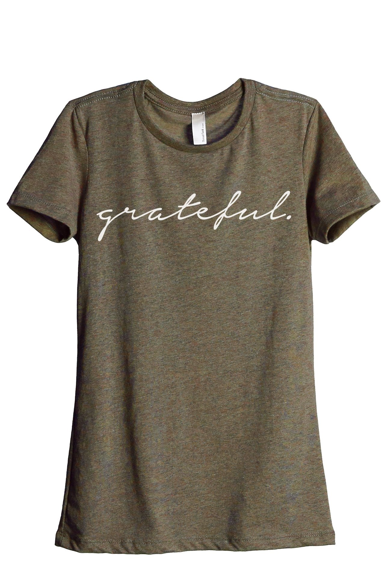 Grateful Women's Relaxed Crewneck T-Shirt Top Tee Heather Sage