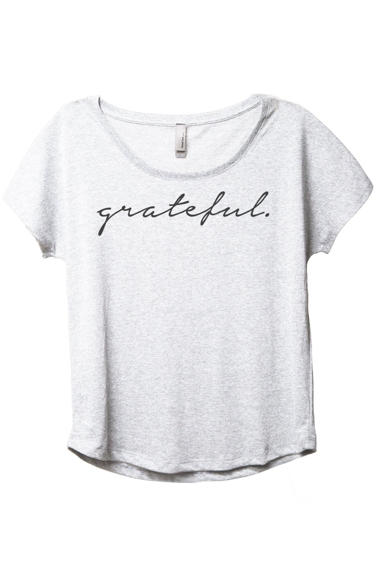Grateful Women's Relaxed Slouchy Dolman T-Shirt Tee Heather White