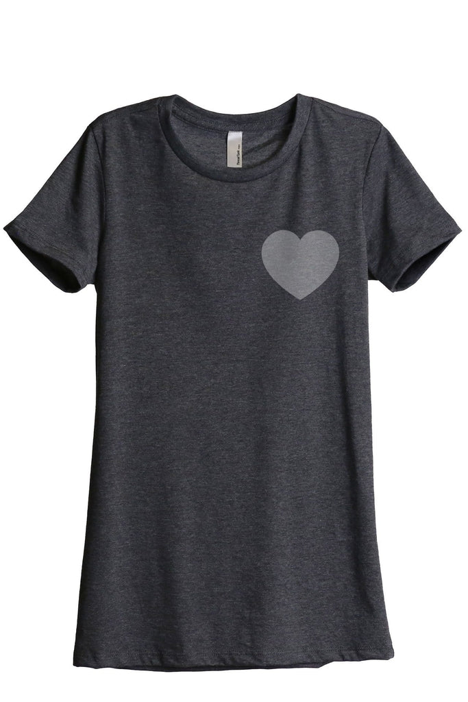 Small Heart Women Charcoal Grey Relaxed Crew T-Shirt Tee Top