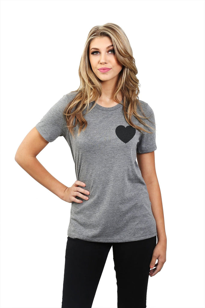 Small Heart Women Heather Grey Relaxed Crew T-Shirt Tee Top With Model
