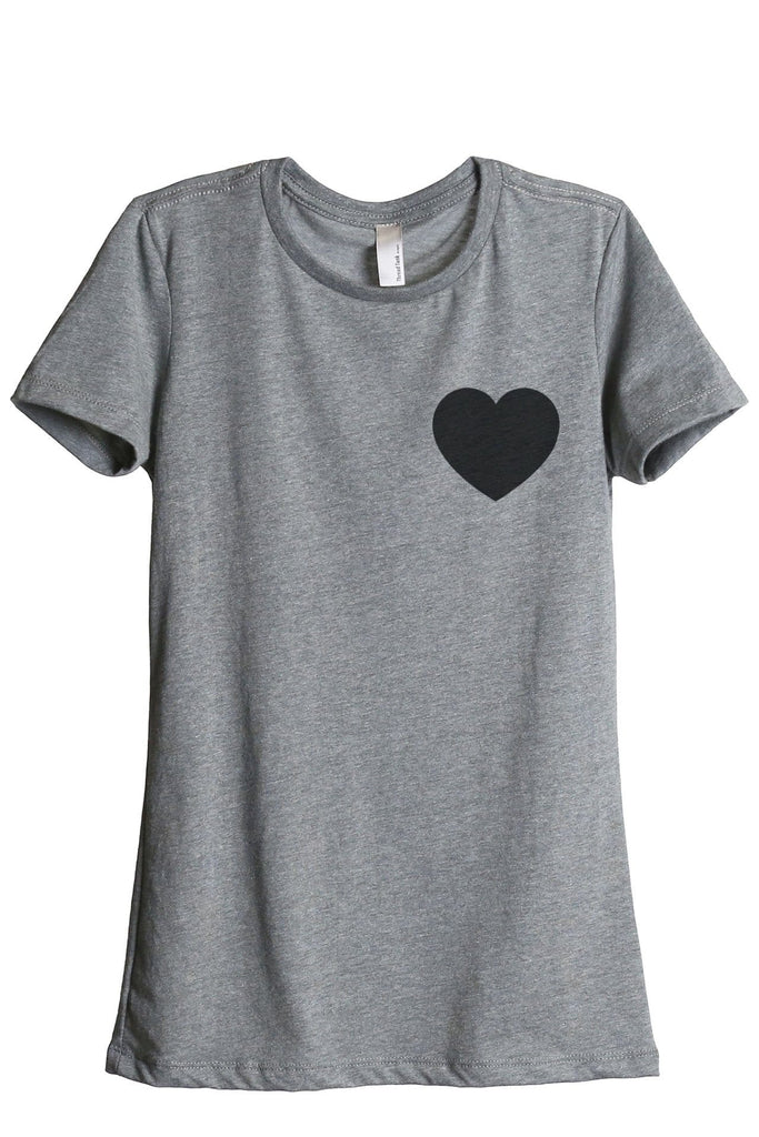 Small Heart Women Heather Grey Relaxed Crew T-Shirt Tee Top