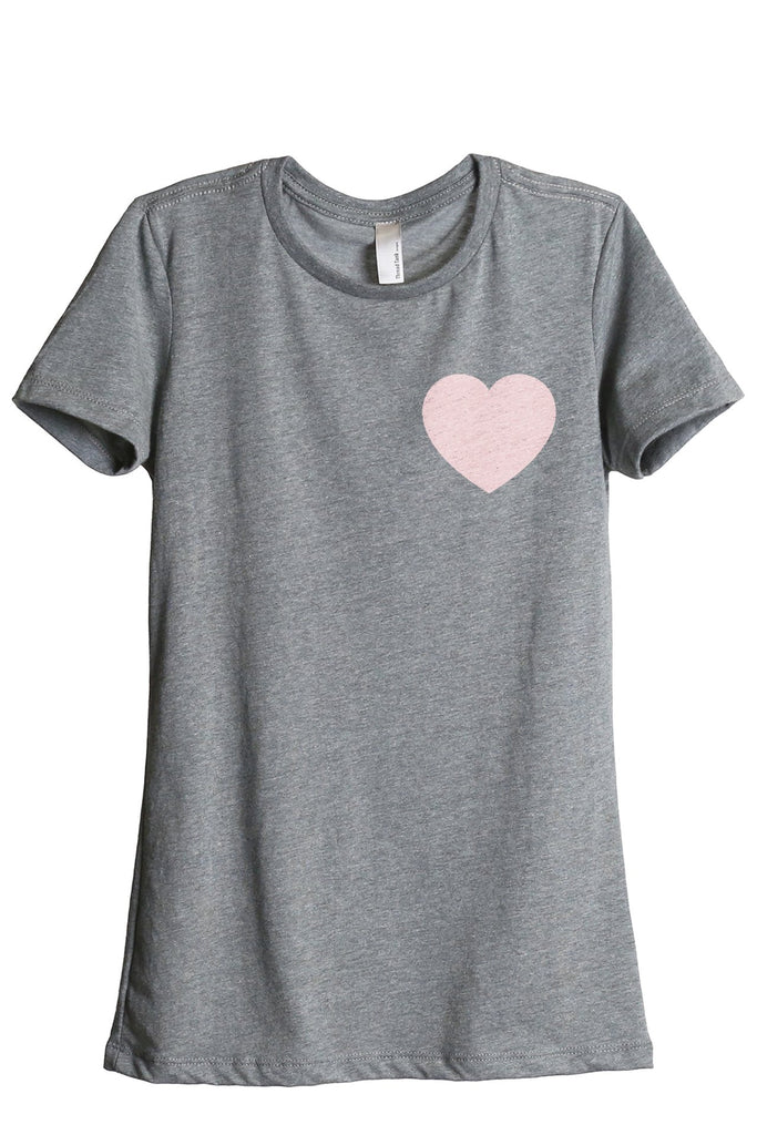Small Heart Women's Relaxed Crewneck T-Shirt Top Tee Heather Grey Pink Exclusive