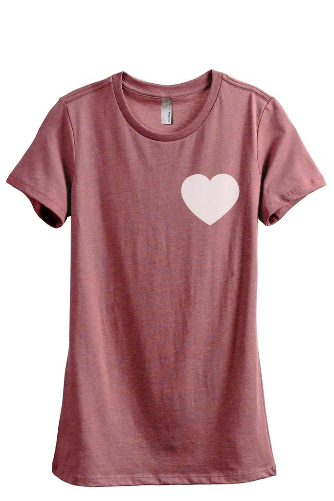 Small Heart Women Heather Rouge Relaxed Crew T-Shirt Tee Top