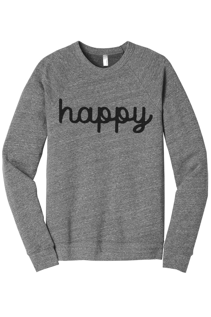 Happy Women's Cozy Fleece Longsleeves Sweater Heather Grey FRONT