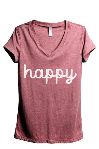 Happy Women's Relaxed V-Neck T-Shirt Tee Heather Black