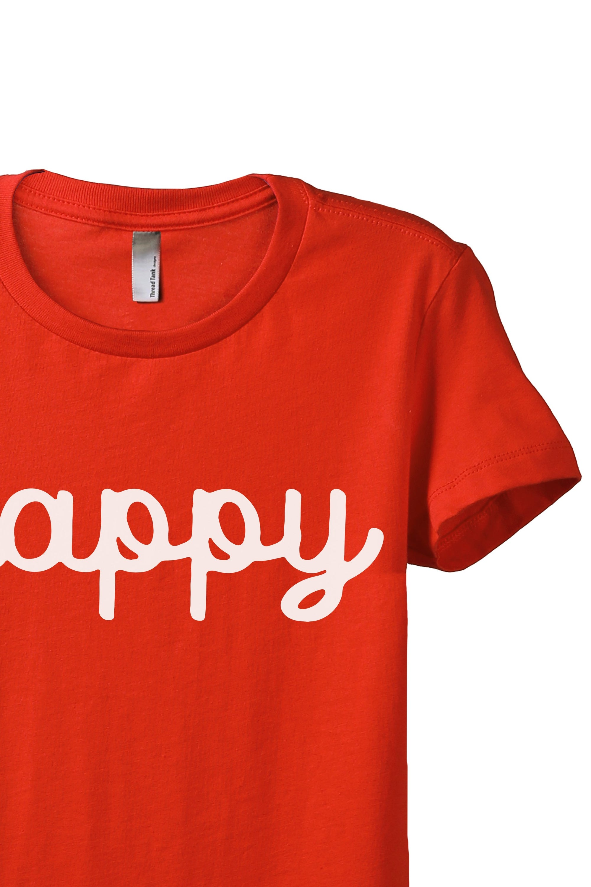 Happy Cursive Women's Relaxed Crewneck T-Shirt Top Tee Poppy