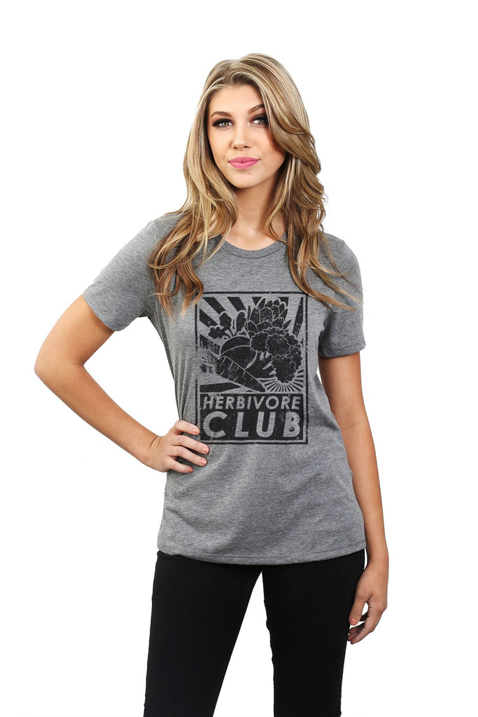 Herbivore Club Women's Relaxed Crewneck T-Shirt Top Tee Heather Grey Model