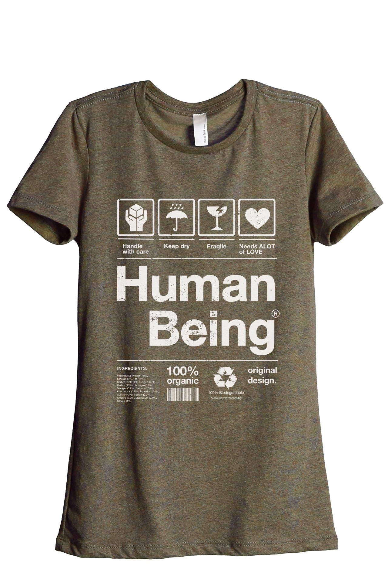 Human Being Women's Relaxed Crewneck T-Shirt Top Tee Heather Sage