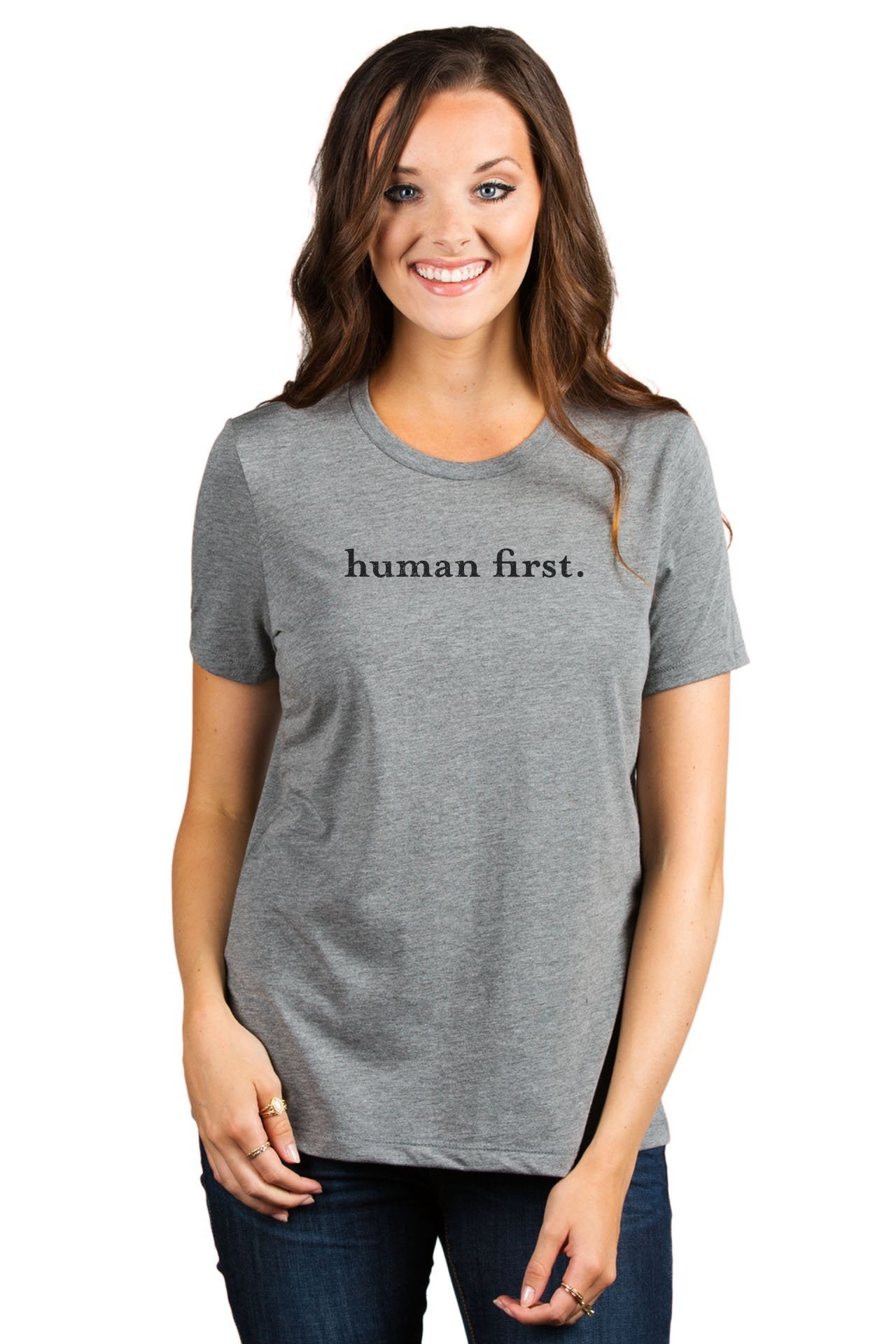 Human First Women's Relaxed Crewneck T-Shirt Top Tee Heather Grey