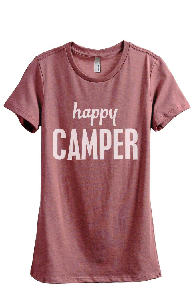 Happy Camper Women Heather Rouge Relaxed Crew T-Shirt Tee Top