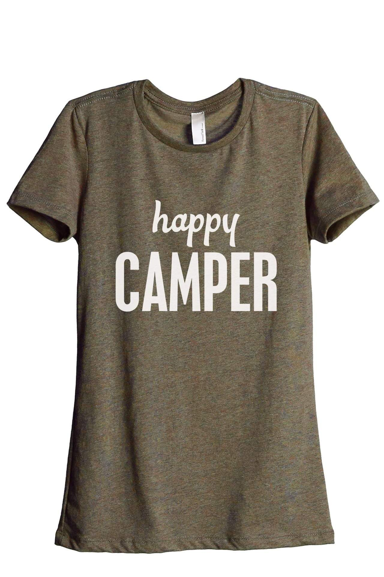 Happy Camper Women's Relaxed Crewneck T-Shirt Top Tee Heather Sage