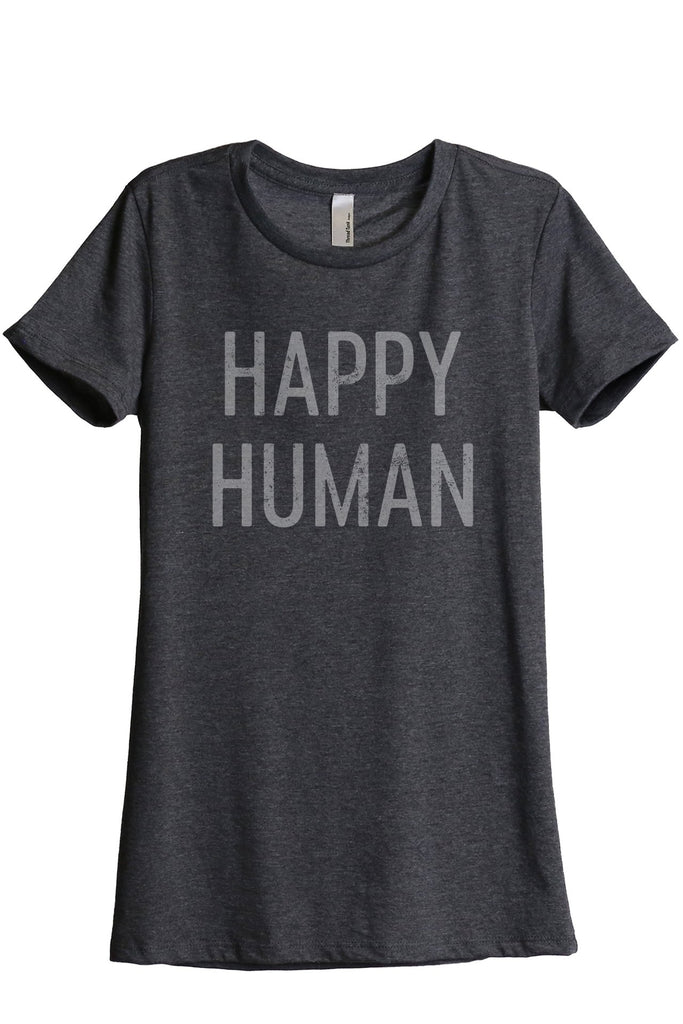 Happy Human Women's Relaxed Crewneck T-Shirt Top Tee Charcoal Grey