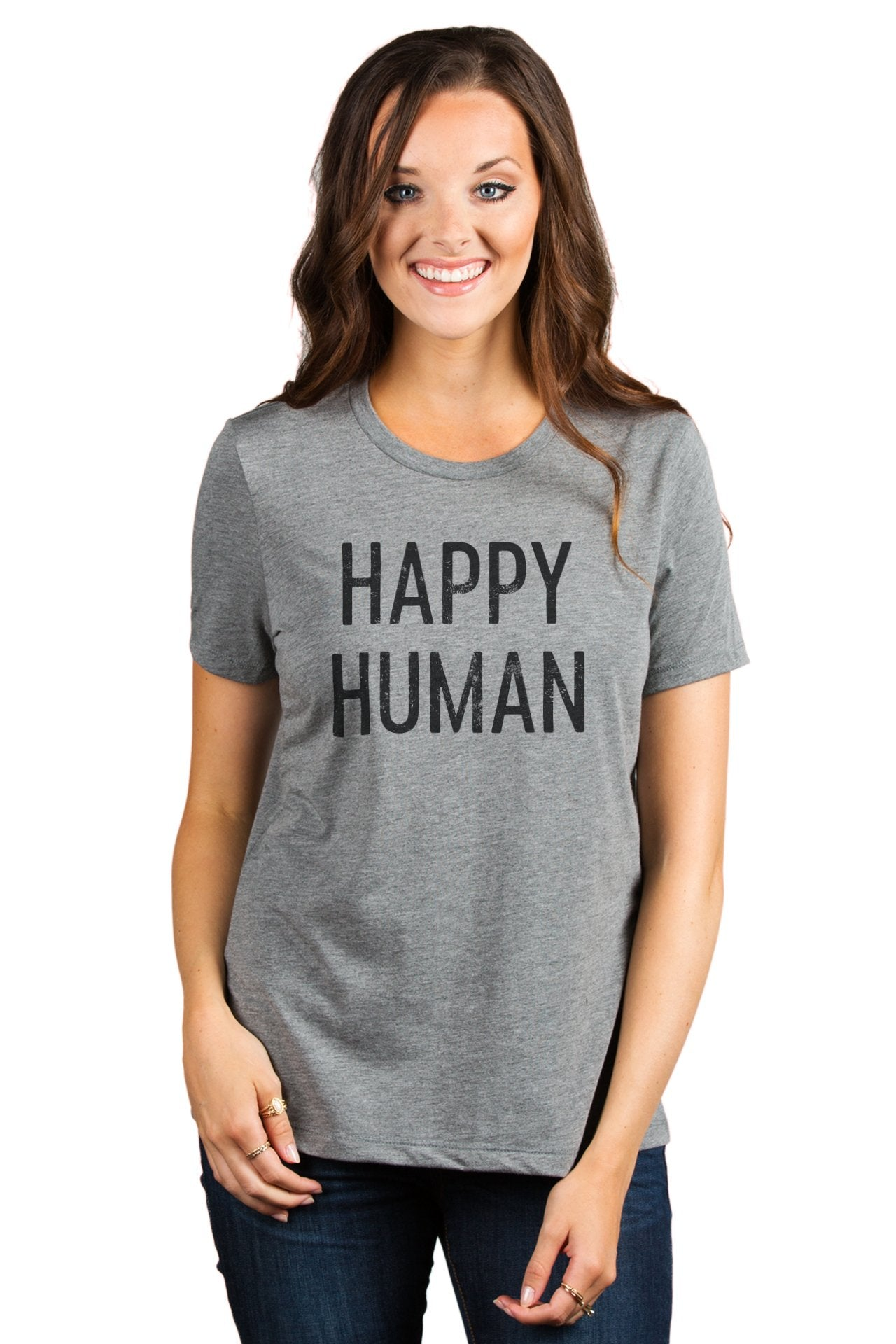 Happy Human Women's Relaxed Crewneck T-Shirt Top Tee Heather Grey