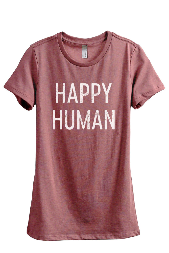 Happy Human Women's Relaxed Crewneck T-Shirt Top Tee Heather Rouge