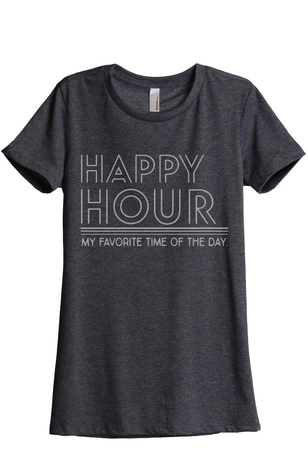 Happy Hour Women Charcoal Grey Relaxed Crew T-Shirt Tee Top
