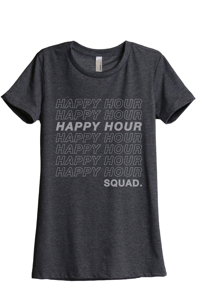 Happy Hour Squad Women's Relaxed Crewneck T-Shirt Top Tee Charcoal Grey