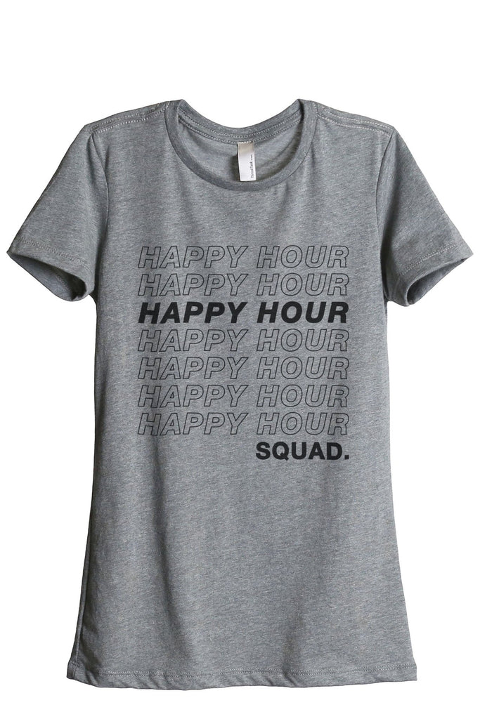 Happy Hour Squad Women's Relaxed Crewneck T-Shirt Top Tee Heather Grey