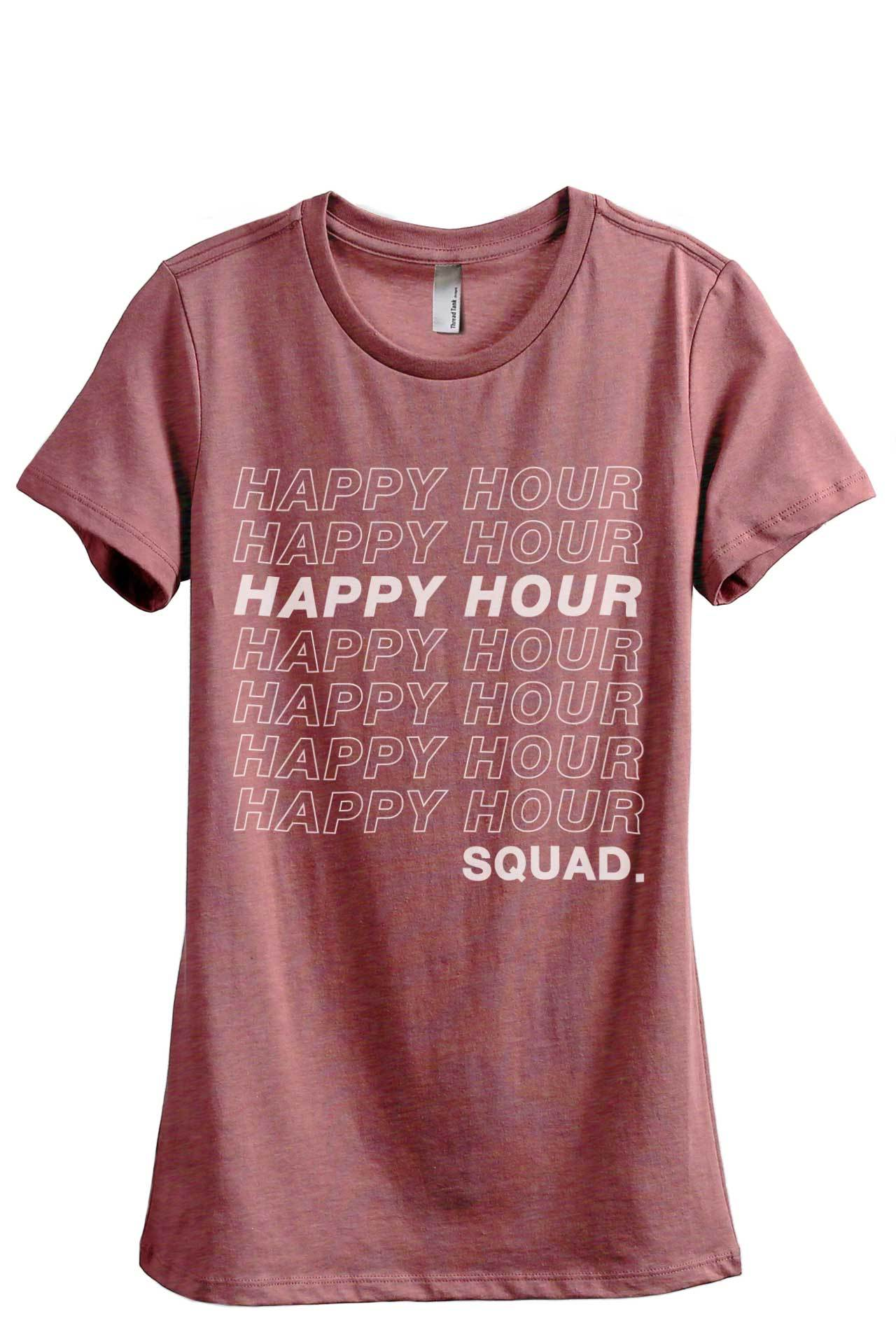 Happy Hour Squad Women's Relaxed Crewneck T-Shirt Top Tee Heather Rouge