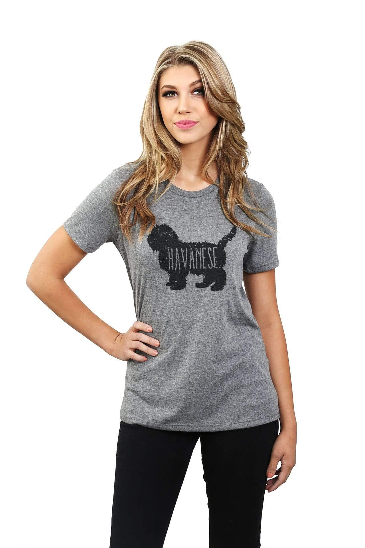 Havanese Dog Silhouette Women Heather Grey Relaxed Crew T-Shirt Tee Top