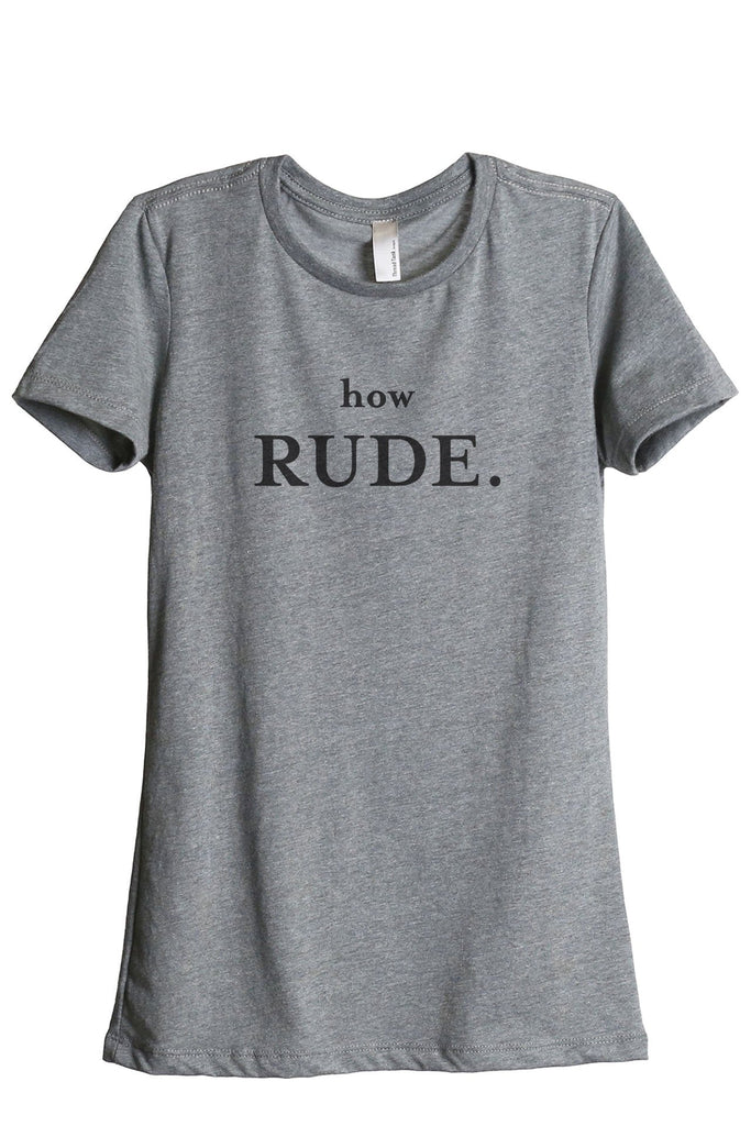 How Rude Women's Relaxed Crewneck T-Shirt Top Tee Heather Grey