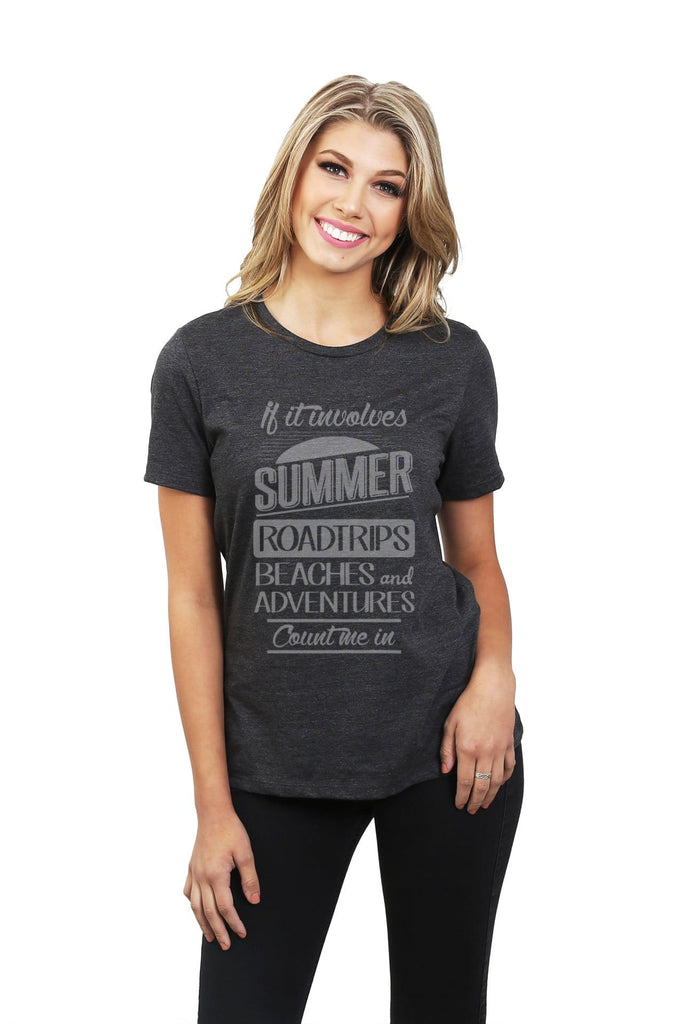 Summer Roadtrips Beaches and Adventures Women Charcoal Grey Relaxed Crew T-Shirt Tee Top With Model