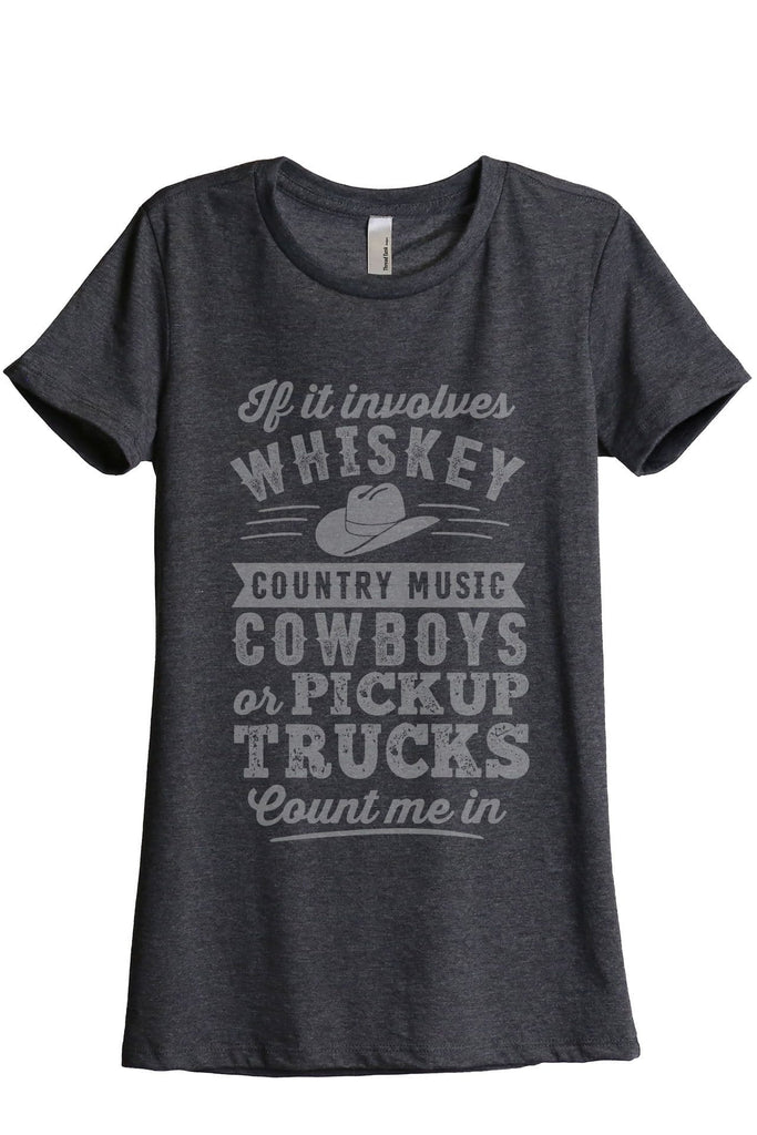Whiskey Country Music Cowboys Women Charcoal Grey Relaxed Crew T-Shirt Tee Top
