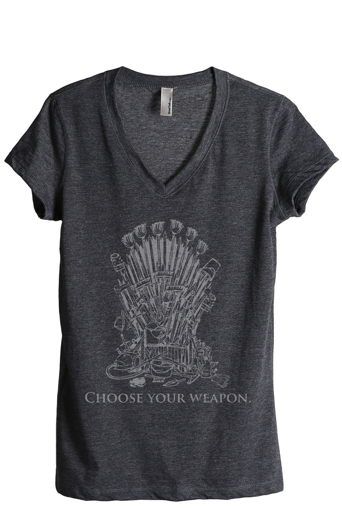 Iron Throne Housewife Women's Relaxed V-Neck T-Shirt Tee Charcoal