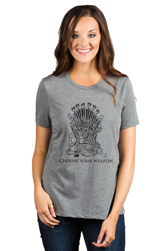 Iron Throne Housewife Women's Relaxed Crewneck T-Shirt Top Tee Heather Grey Model