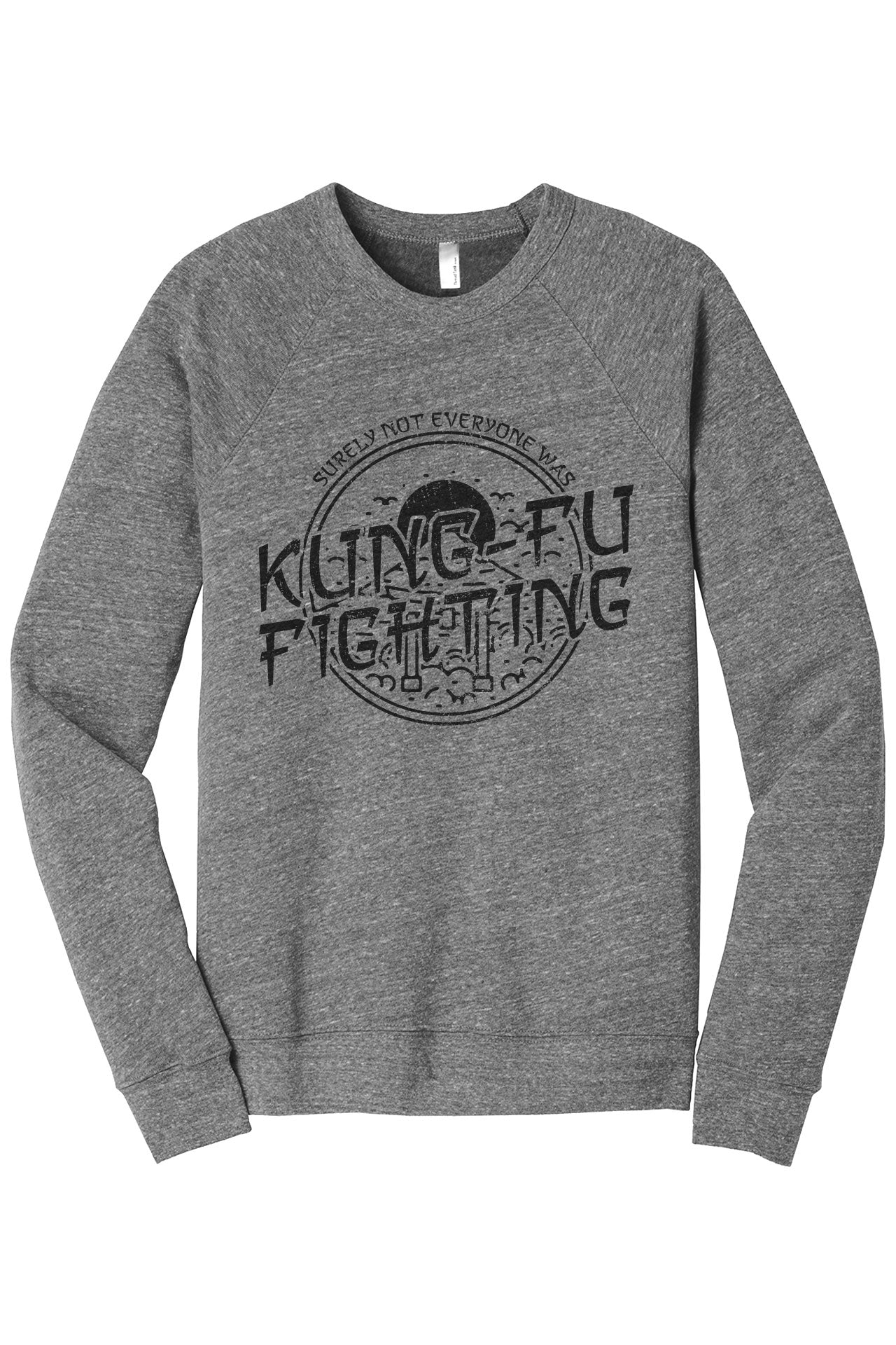 Surely Not Everyone Was Kung Fu Fighting Cozy Unisex Fleece Longsleeves Sweater Heather Grey FRONT