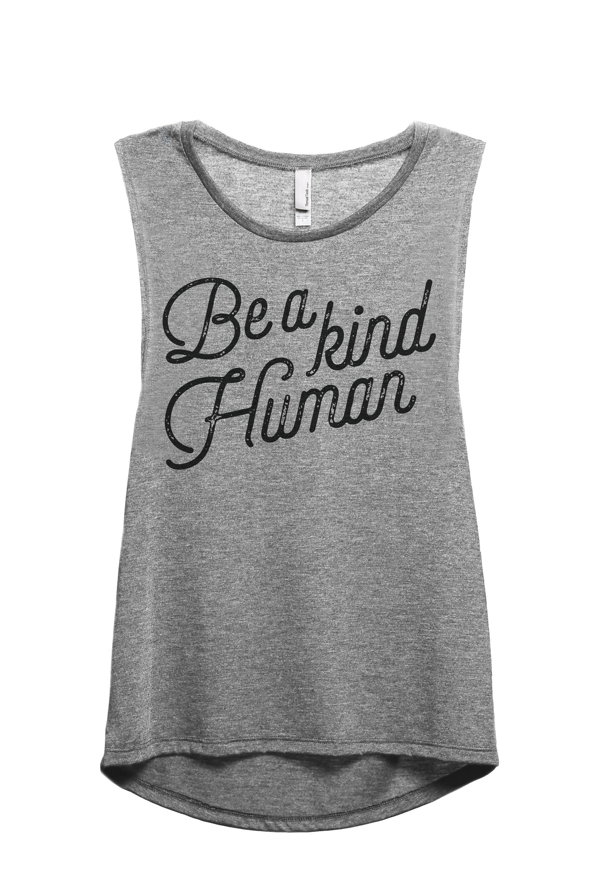 Be A Kind Human Women's Relaxed Muscle Tank Tee Heather Grey