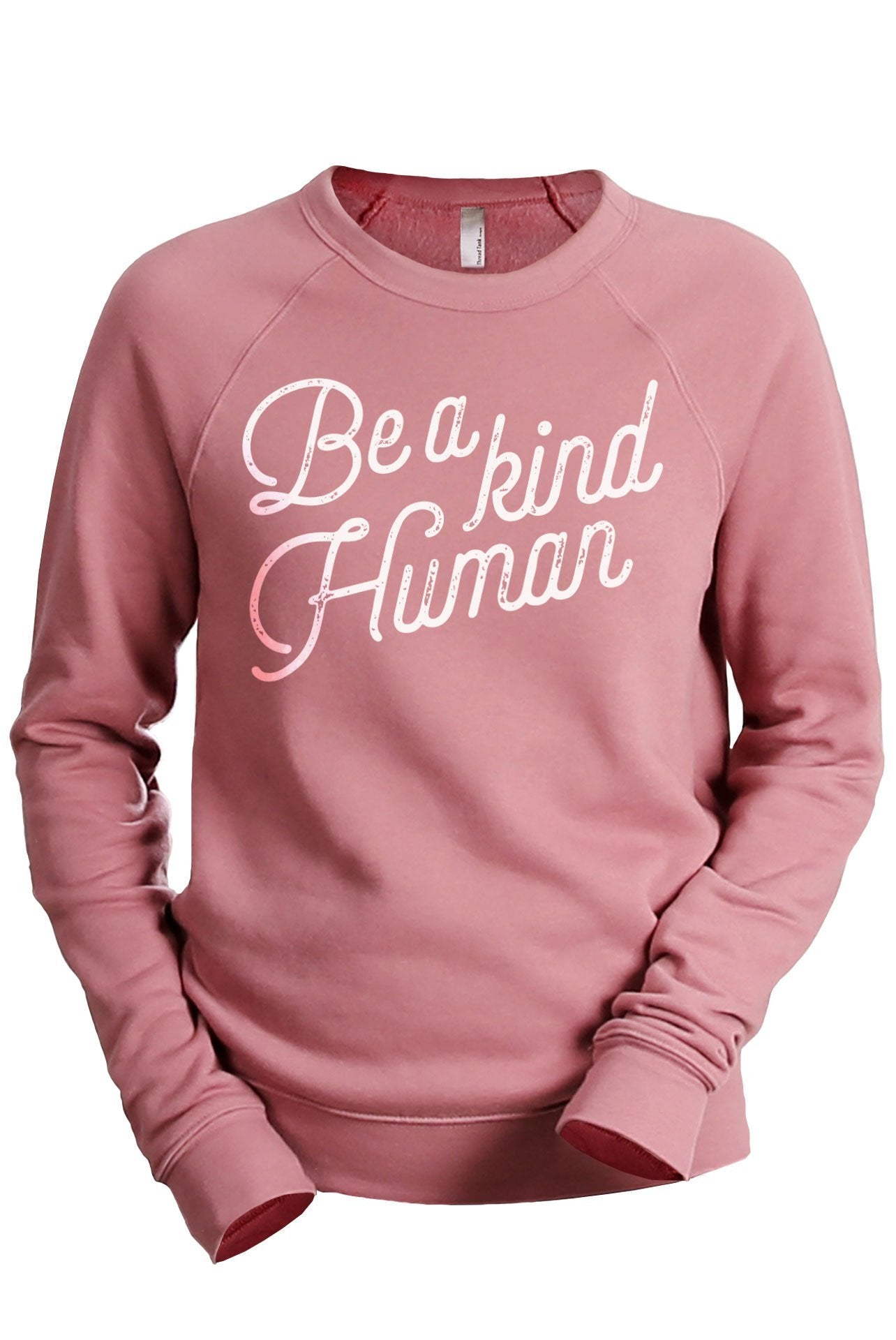 Be A Kind Human Women's Cozy Fleece Longsleeves Sweater Rouge FRONT