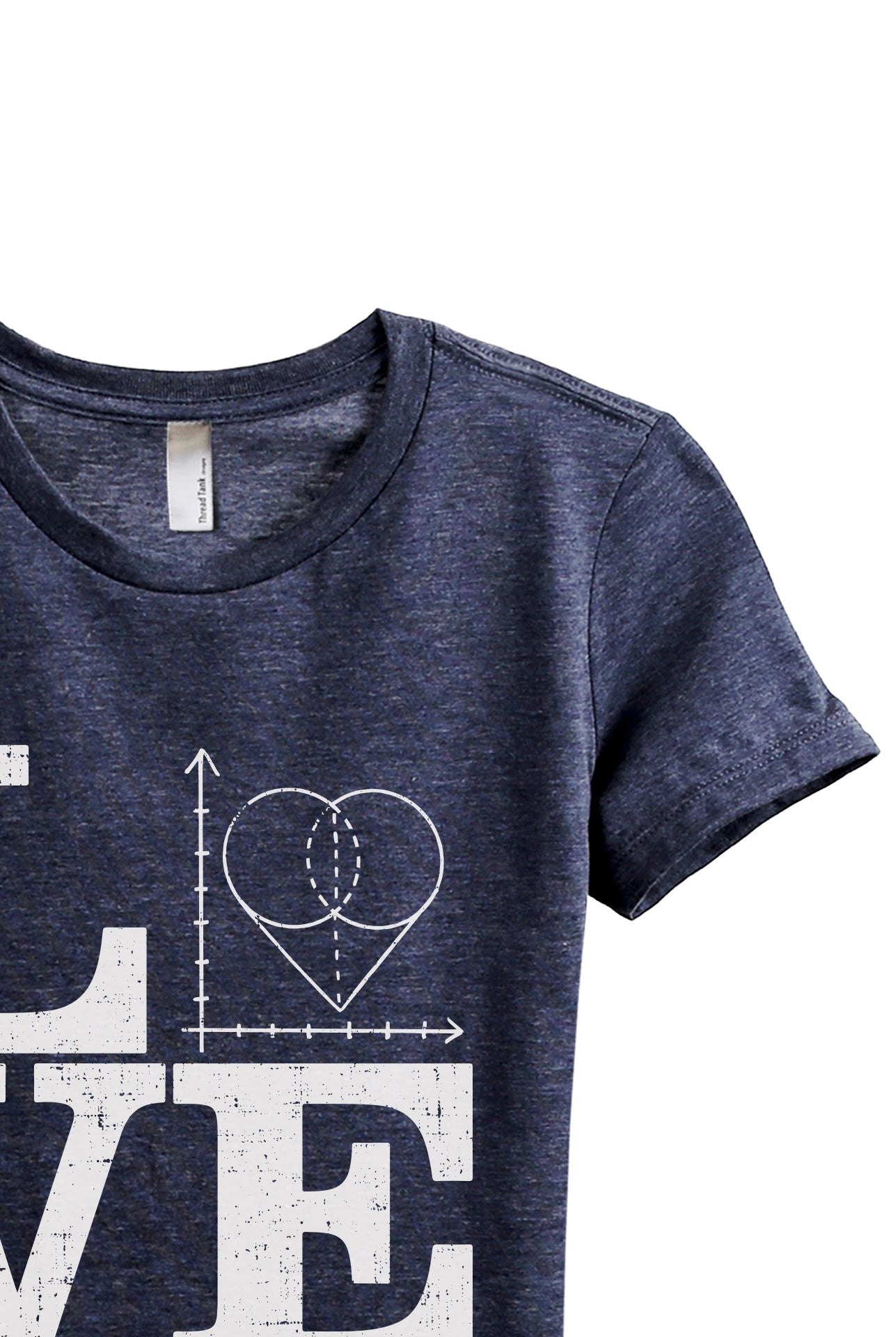 Teach Math LOVE Women's Relaxed Crewneck T-Shirt Top Tee Heather Navy