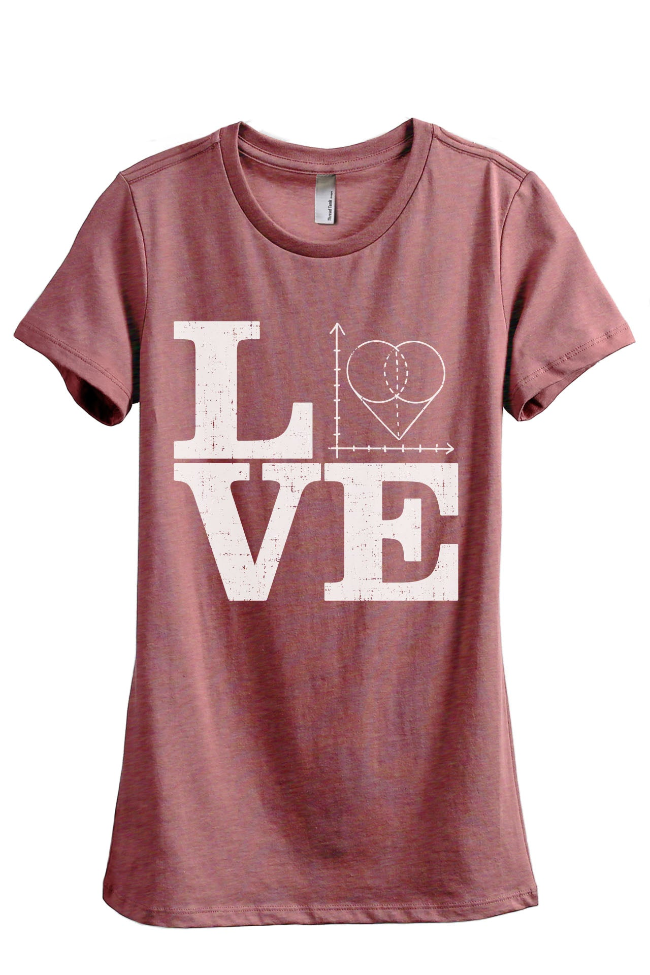 Teach Math LOVE Women's Relaxed Crewneck T-Shirt Top Tee Heather Rouge