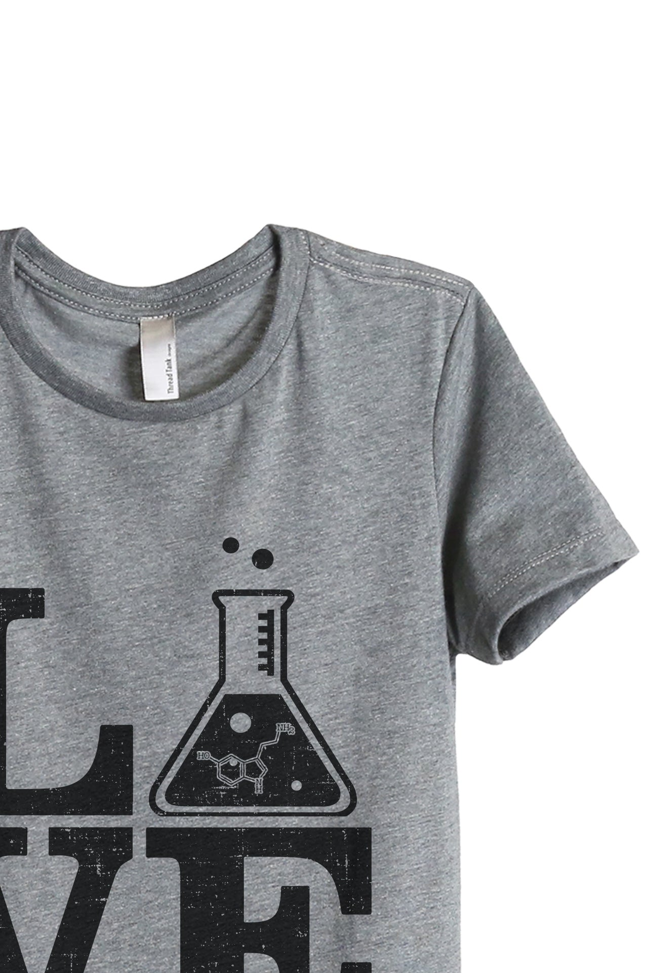 Teach Science LOVE Women's Relaxed Crewneck T-Shirt Top Tee Heather Grey