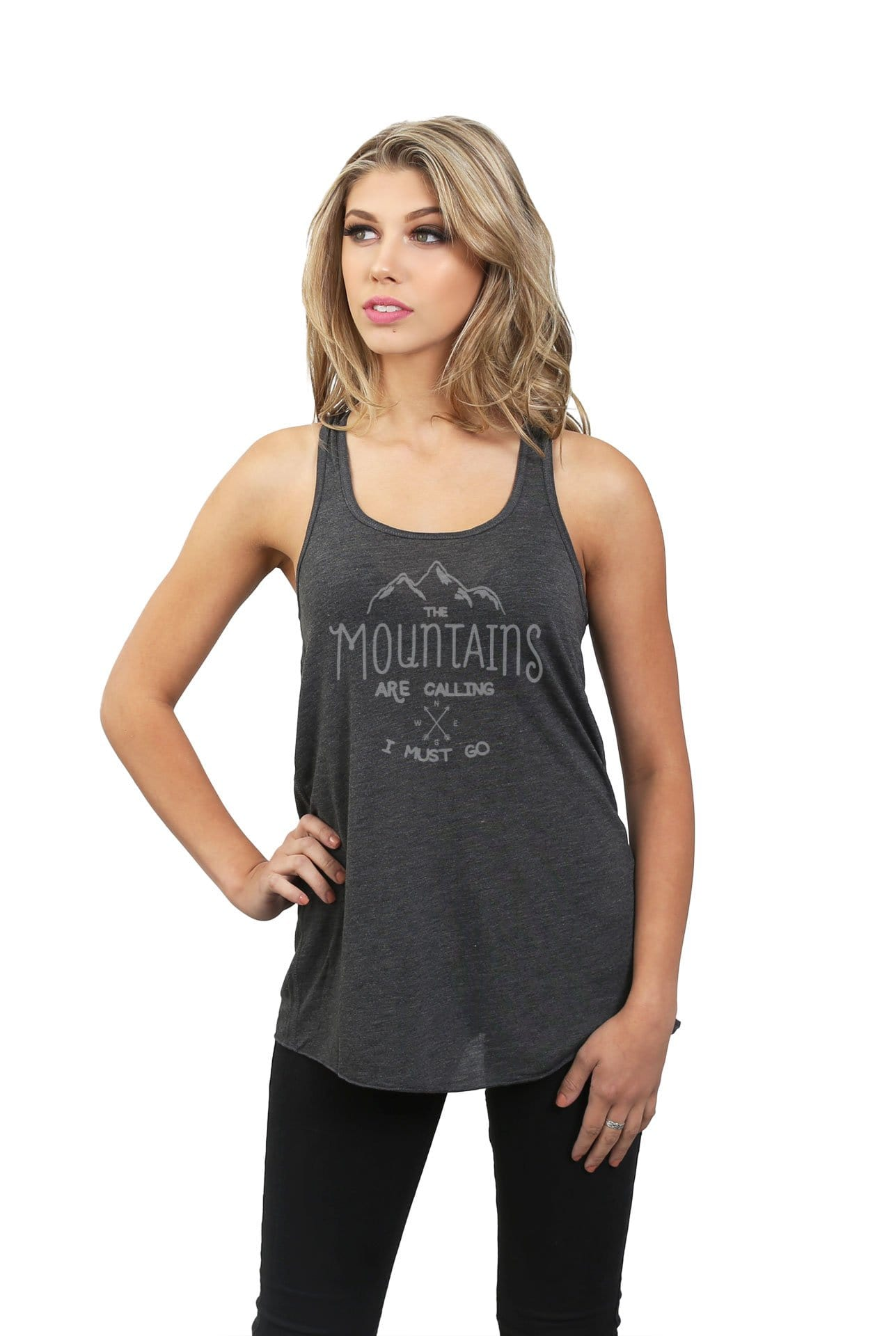 The Mountains Are Calling I Must Go Women Charcoal Grey Flowy Sleeveless Racerback Tank Top