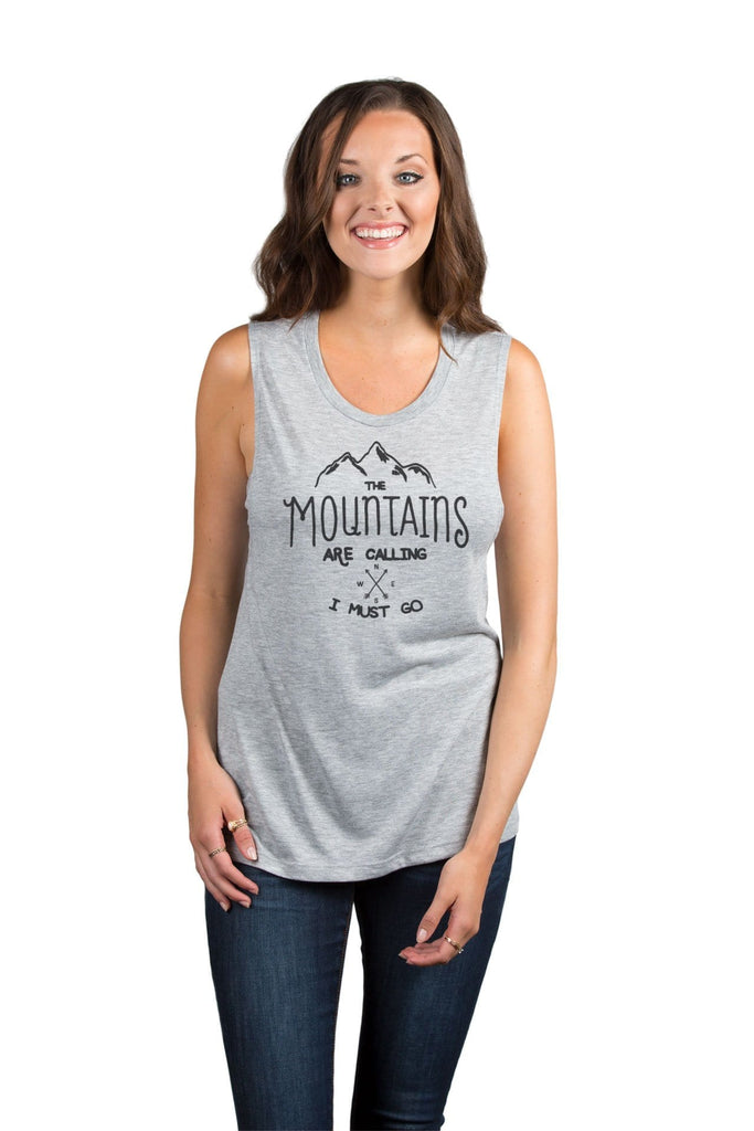 The Mountains Are Calling I Must Go Women Sport Grey Sleeveless Muscle Tank Top With Model