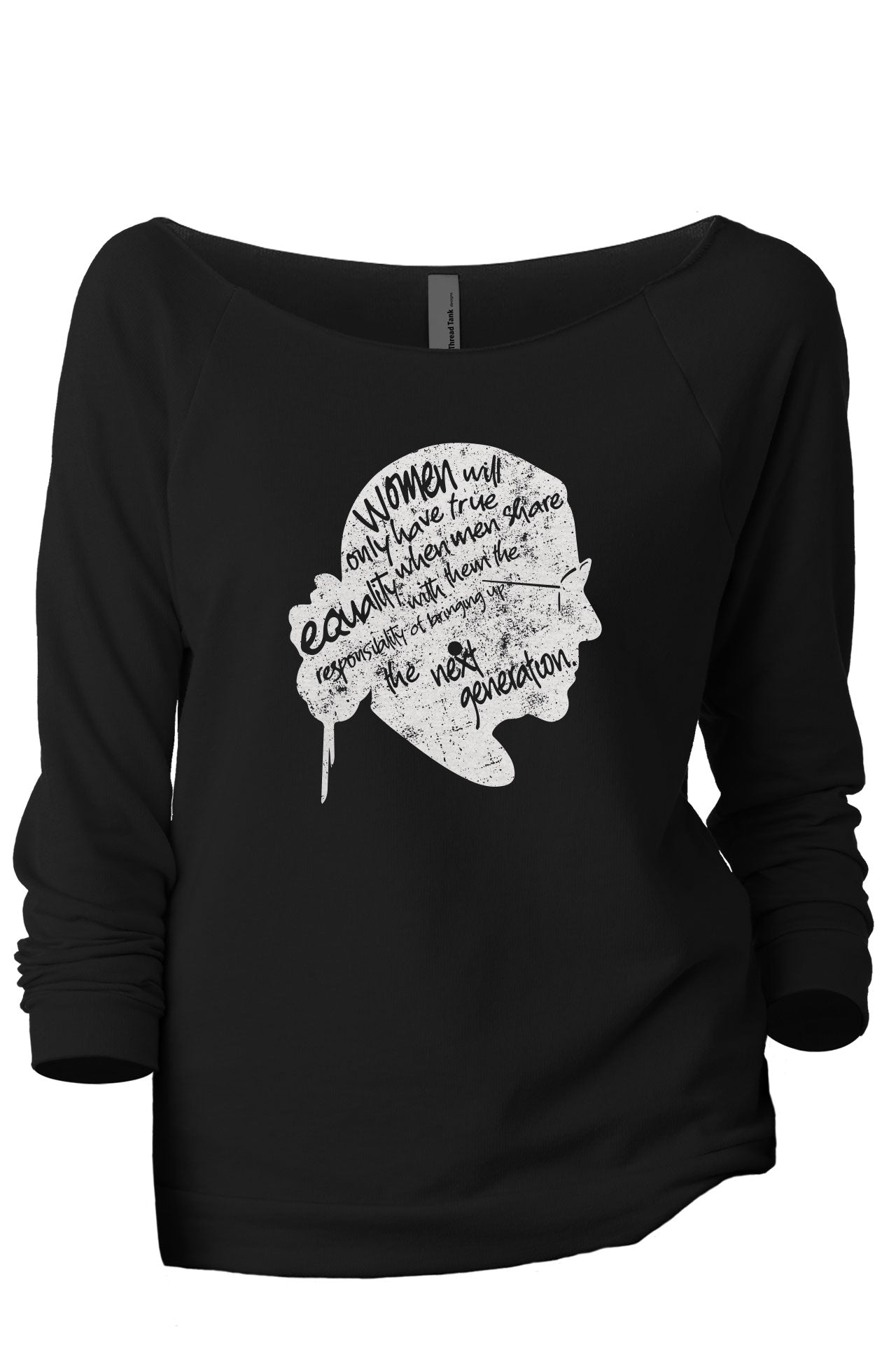 The Next Generation RBG Women's Graphic Printed Lightweight Slouchy 3/4 Sleeves Sweatshirt Sport Black