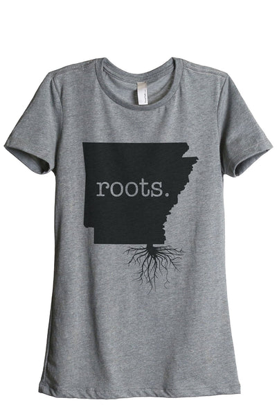 Home Roots State Arkansas AR Women Heather Grey Relaxed Crew T-Shirt Tee Top