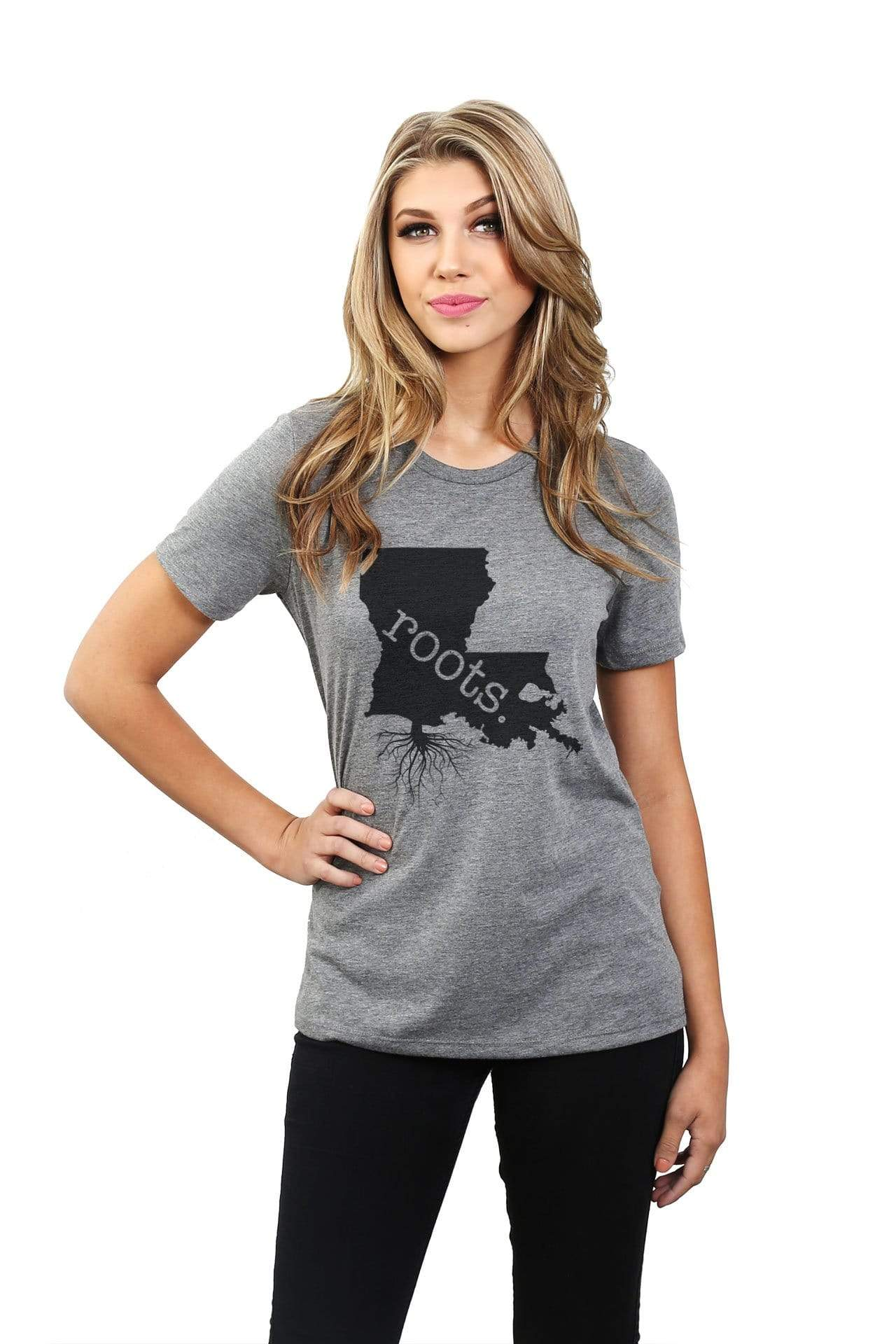 Home Roots State Louisiana LA Women Heather Grey Relaxed Crew T-Shirt Tee Top